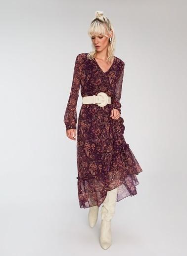 People By Fabrika Şal Desen Dökümlü Elbise Bordo